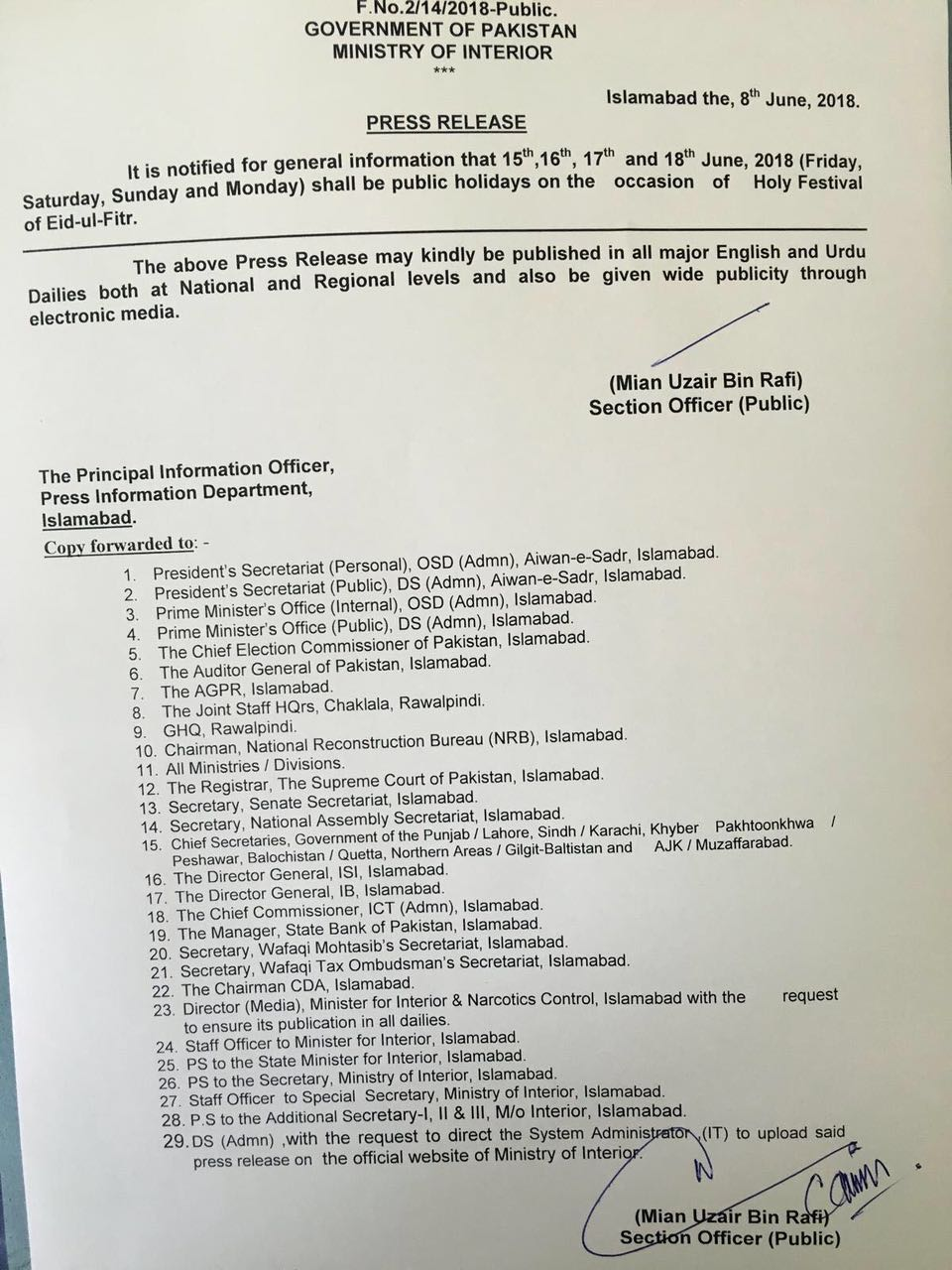 Original Notification Eid-ul-Fitr Holidays 2018 by Ministry of Interior