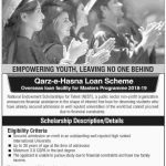 Overseas Loan Facility for Master Programme 2018-19 (Qarz-e-Hasna Loan Scheme)