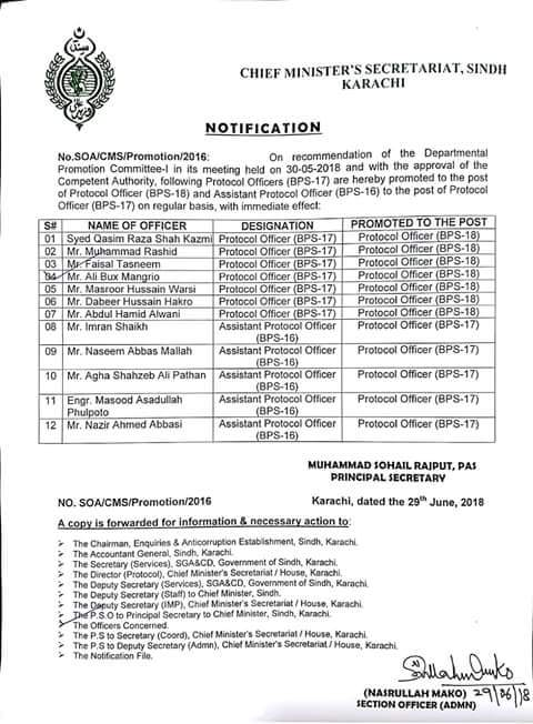 Notification of Promotion Protocol Officers