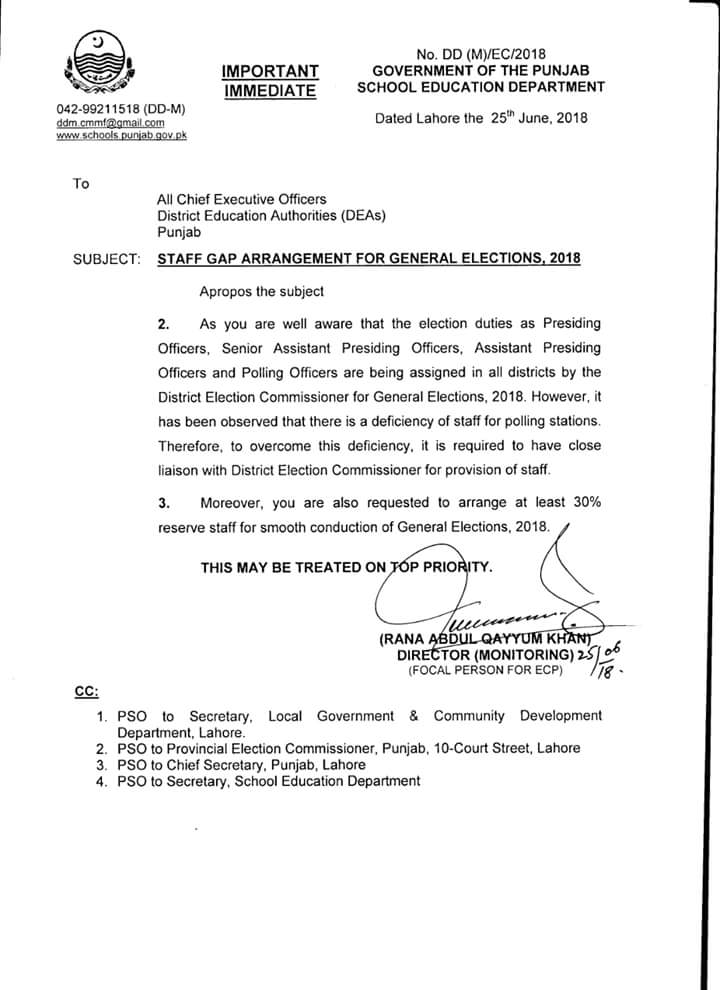 Notification of Staff GAP Arrangement for General Election 2018
