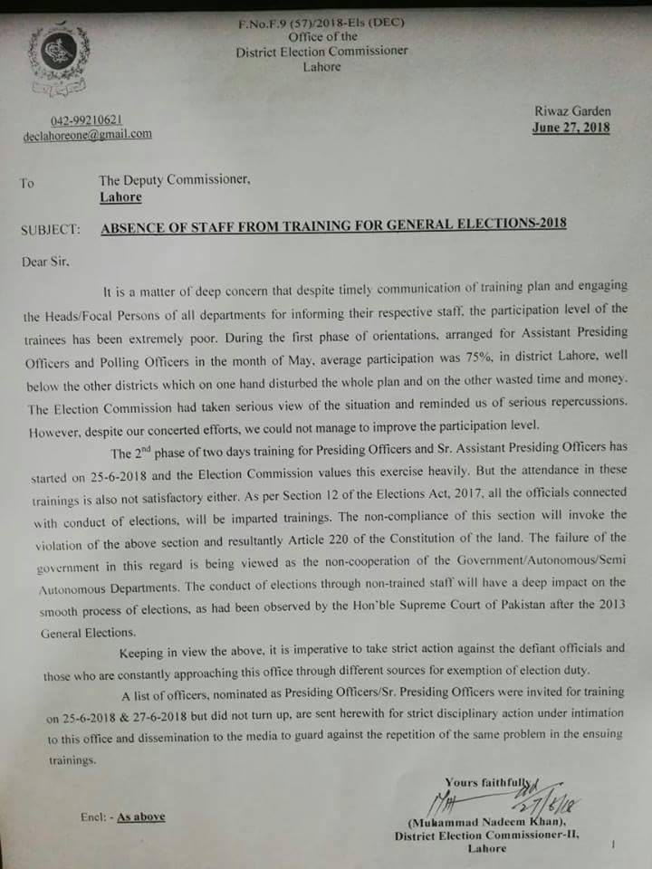 Notification of Strict Action Against Absence Staff from General Election Training 2018
