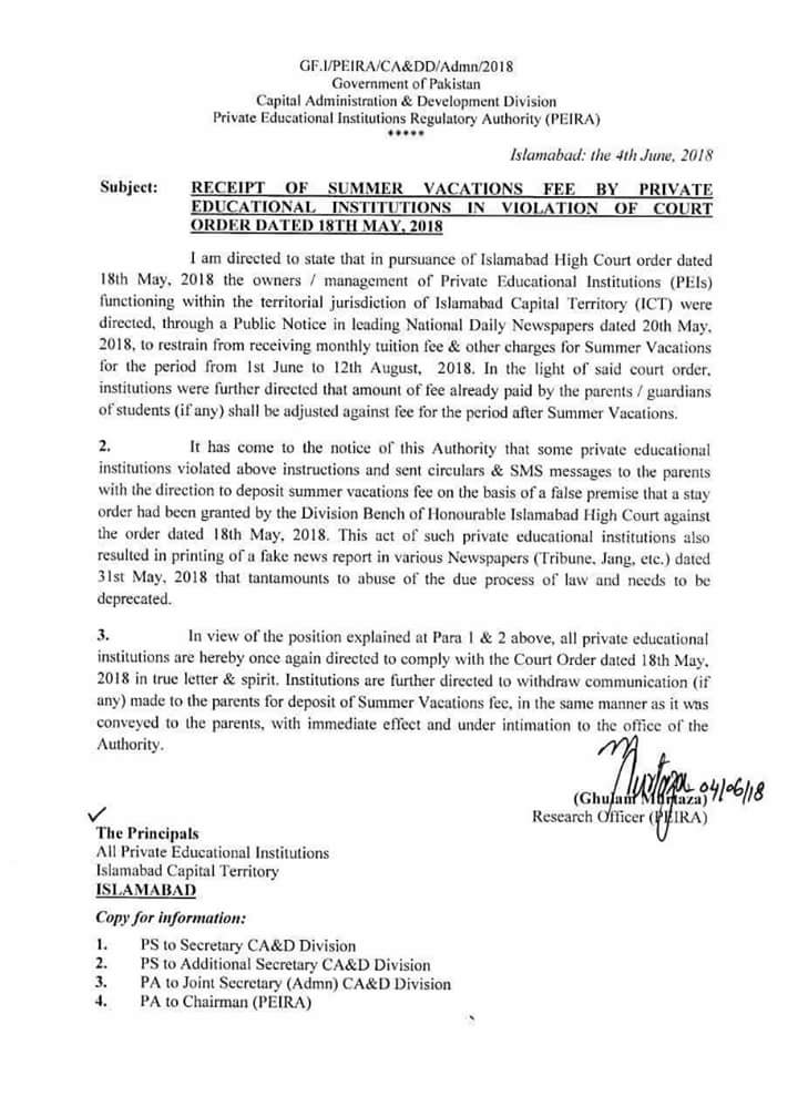Receipt of Summer Vacations Fee by Private Educational Institutions in Violation of Court Order