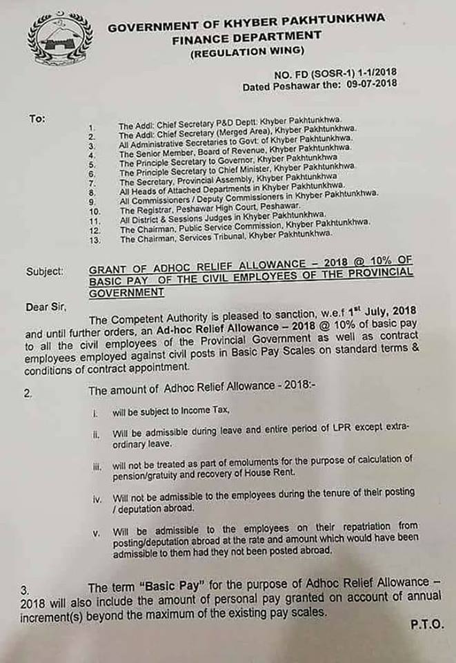Adhoc Relief Allowance 2018 KPK