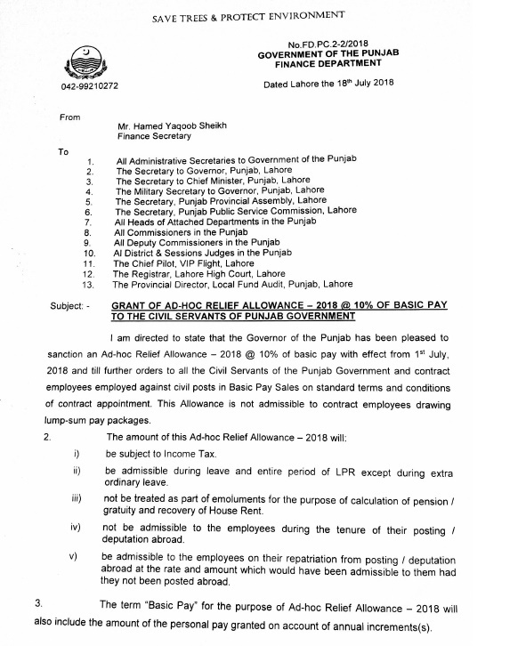 Notification of Adhoc Relief Allowance 2018 Punjab