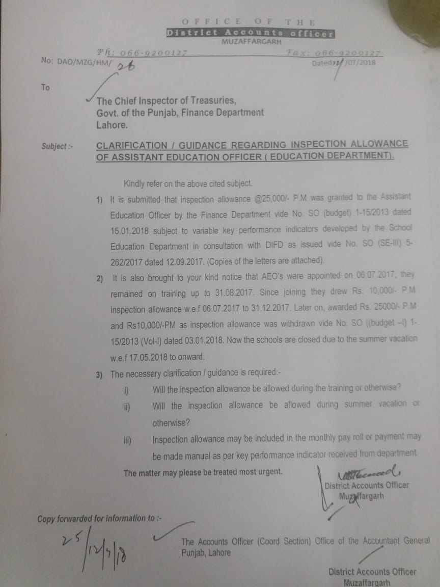 Clarification Inspection Allowance of Assistant Education Officer (Education Department)
