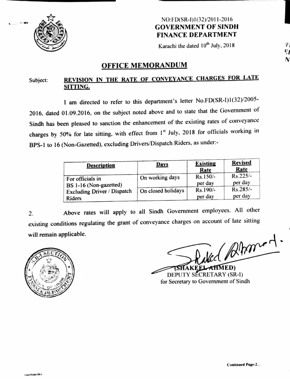 Notification of Conveyance Charges Late Sitting 2018 Sindh