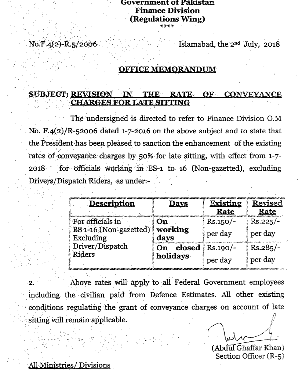 Notification of Revision Conveyance Charges Rates 2018 for Late Sitting