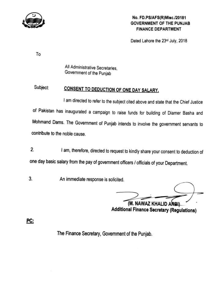 Consent to Deduction One Day Salary for Building of Diamer Basha and Mohmand Dams