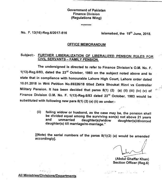 Notification of Distribution Pension Equally Among Surviving Sons & Daughters