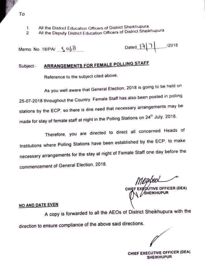 Arrangements for Female Polling Staff Election 2018