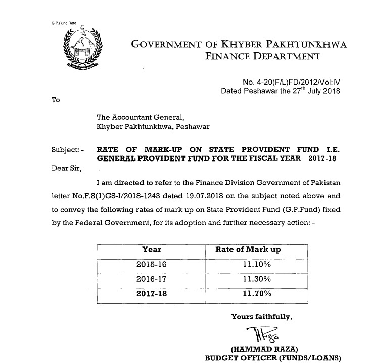 Notification of GP Fund Interest Rates 2017-2018 KPK