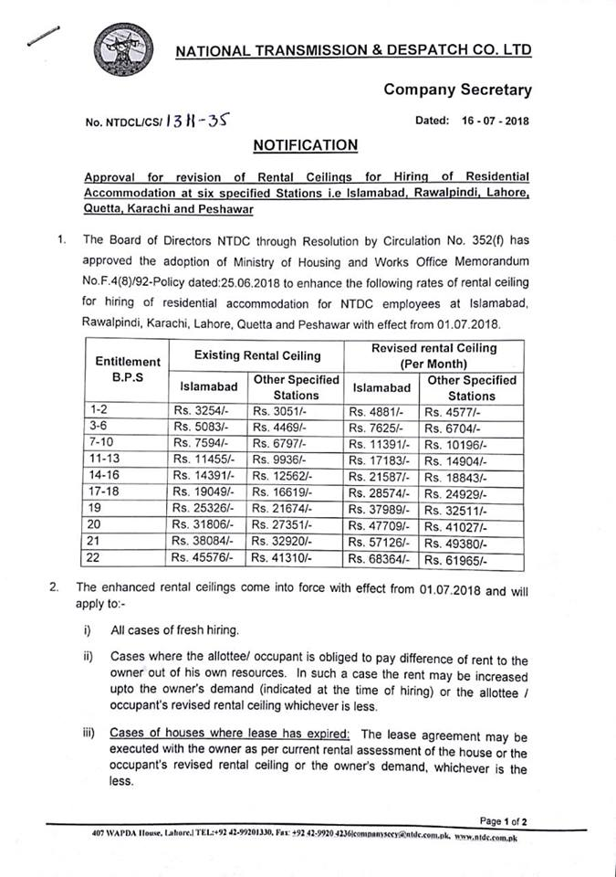 Notification of Revision of Rental Ceiling for Hiring of Residential Accommodation NTDC