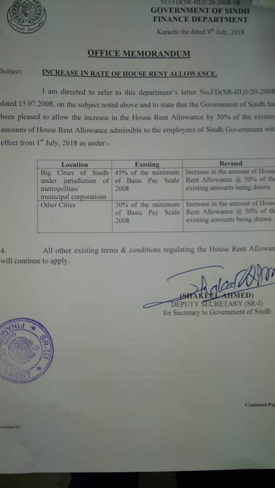 Notification of House Rent Allowance Increase 2018 Sindh Government