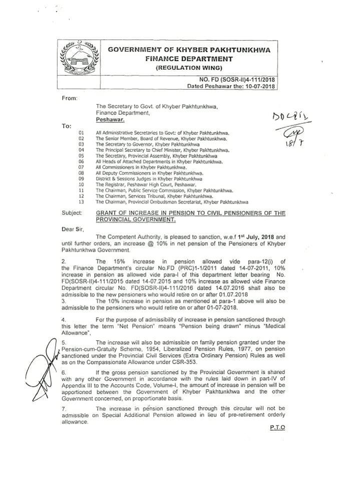 Notification of Increase Pension 2018 KPK and Minimum Pension 2018