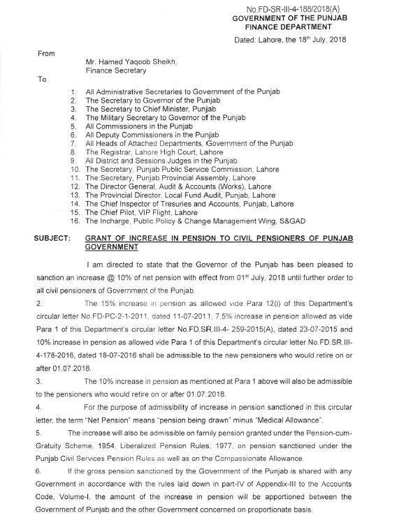 Notification of Increase Pension 2018 Punjab Government
