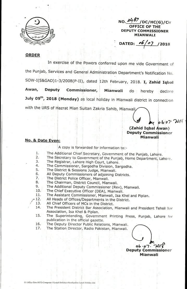 Notification of Local Holiday District Mianwali on 9th July 2018