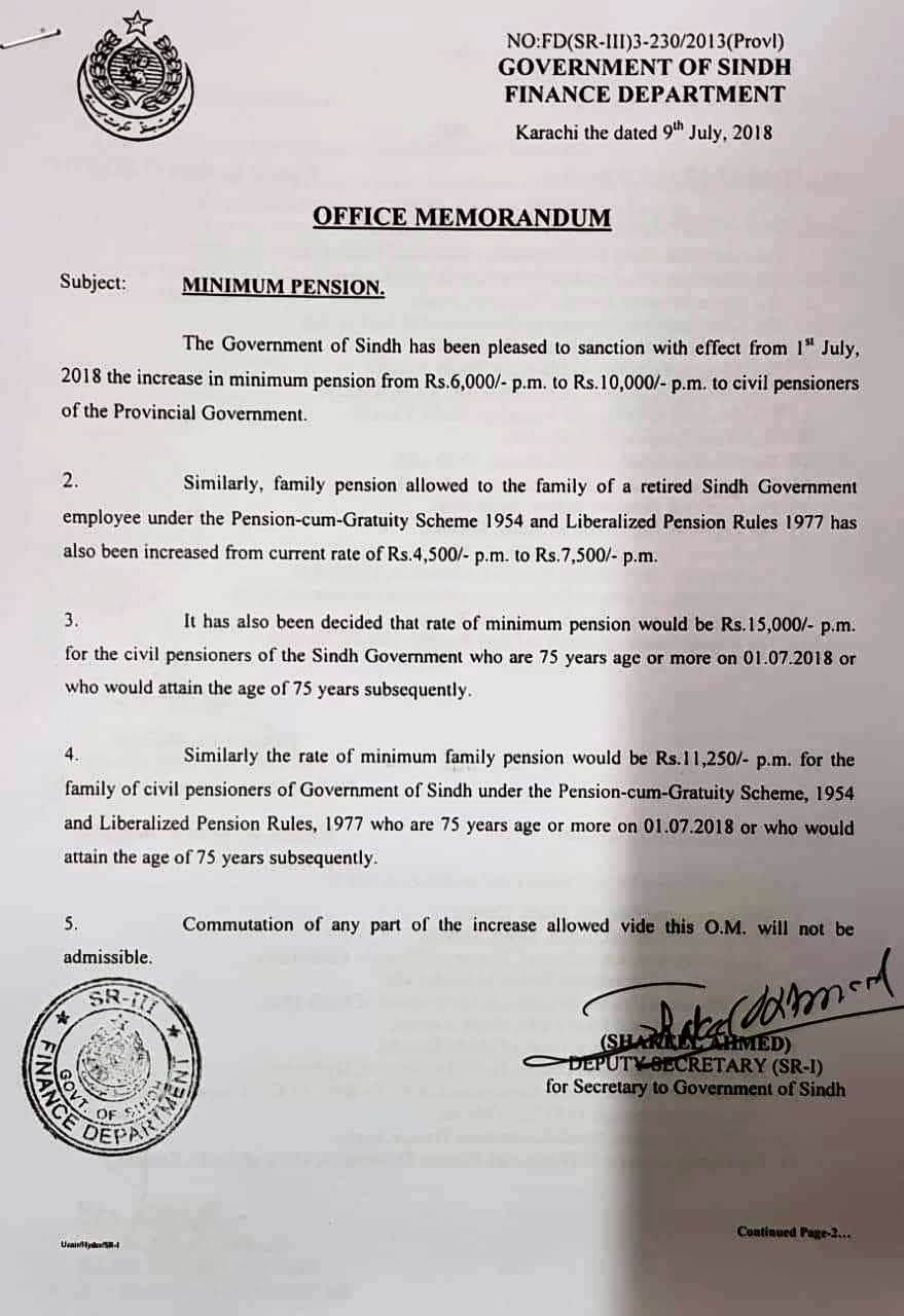 Notification of Minimum Pension 2018 Sindh Govt Pensioners