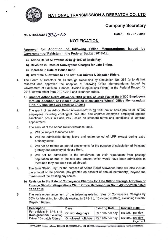 Notification of Adhoc Relief Allowance 2018