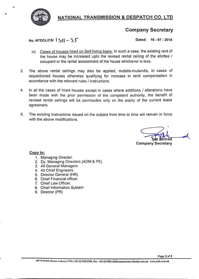 Notification of Revision of Rental Ceiling