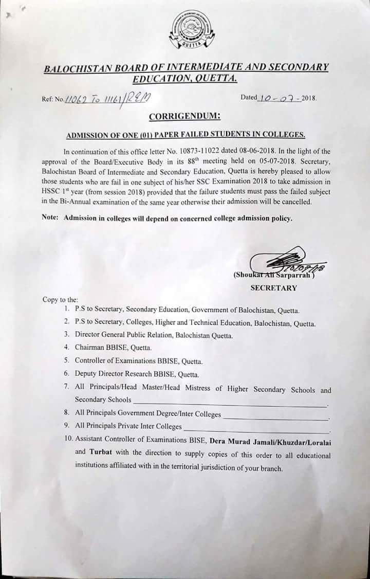 Notification of Admission of One Paper Failed Students in Colleges