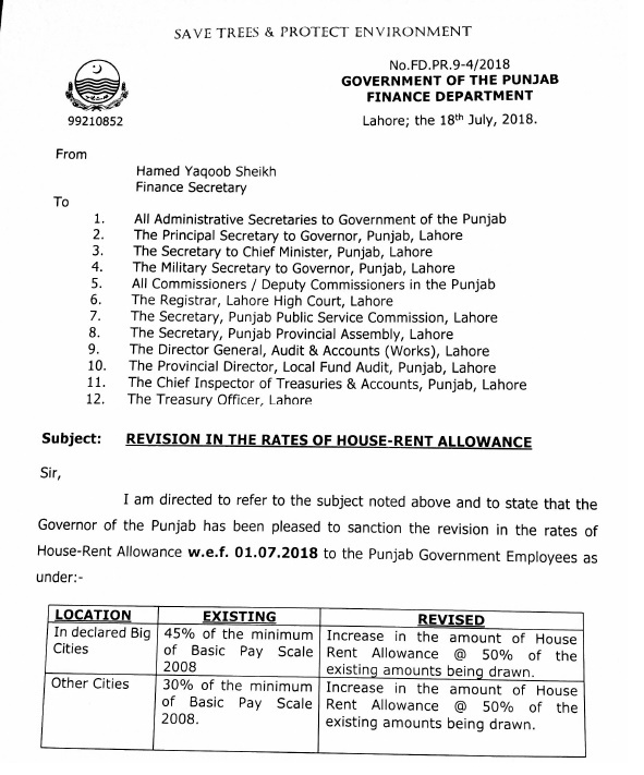 Notification Revised House Rent Allowance 2018 Punjab