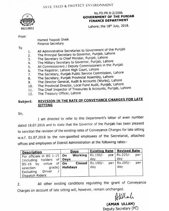 Notification of Revision Conveyance Charges 2018 Punjab