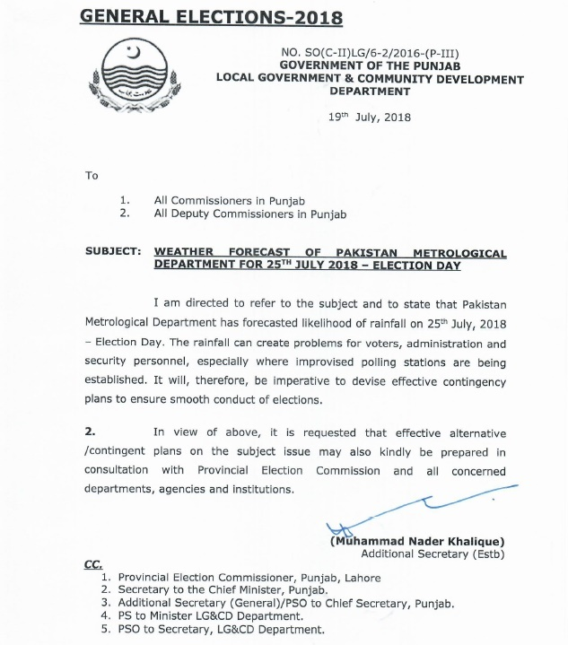 Notification of Weather Forecast Election Day 25th July 2018
