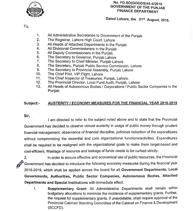 Notification of Austerity/Economy Measures and Ban on Upgradation Posts 2018 Punjab