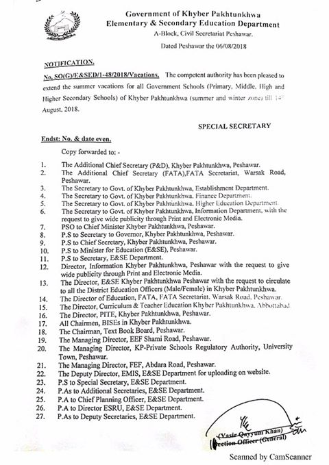 Notification of Extension Summer Vacation 2018 KPK