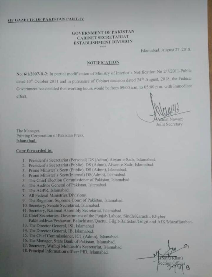 Notification of Office Timings Working Hours