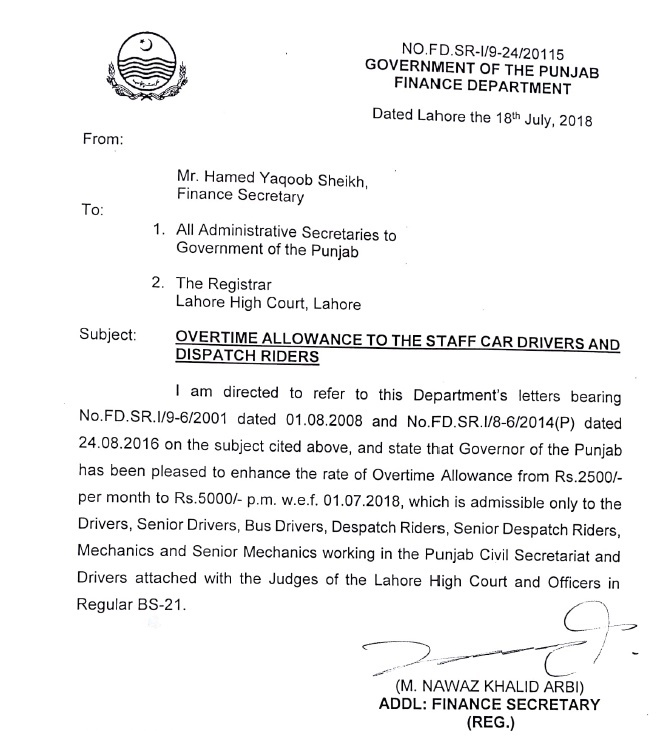 Notification of Overtime Allowance 2018 Punjab to the Staff Car Drivers and Dispatch Riders