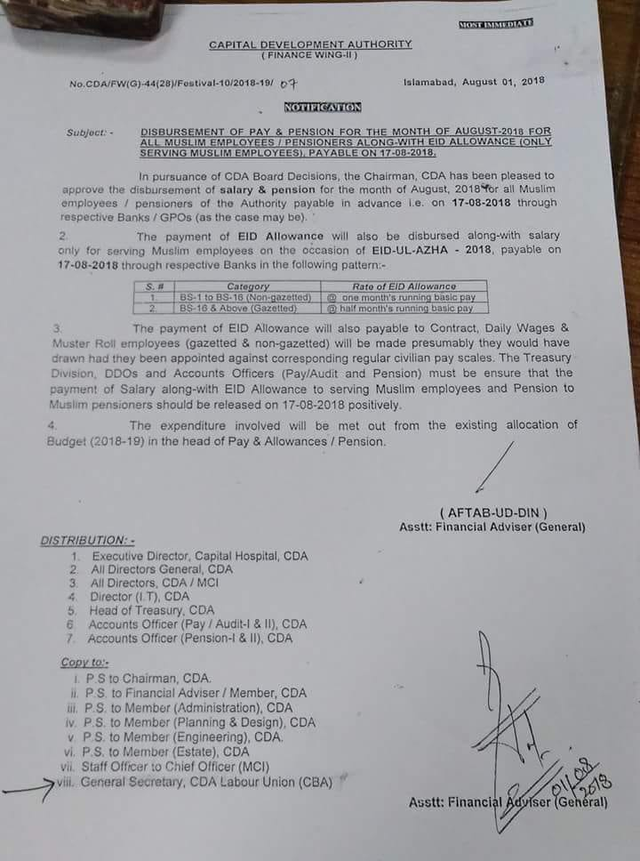 Notification of Eid Allowance & Disbursement of Pay & Allowances August 2018 on 17th August 2018-CDA Employees
