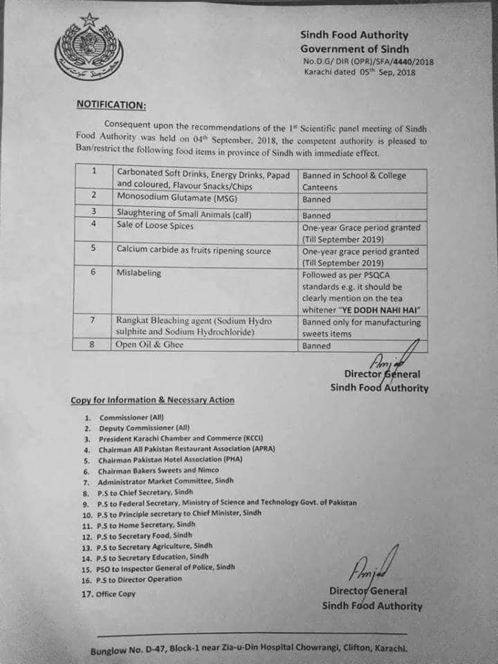 Notification of Ban on Some Food Items in Sindh Province