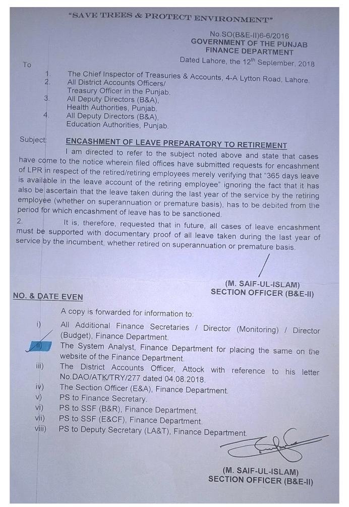 Notification of Clarification of Encashment of Leave Preparatory to Retirement