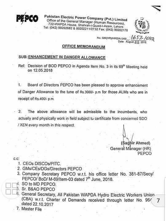 Notification of Enhancement Danger Allowance to the Tune of 3000/- Per Month