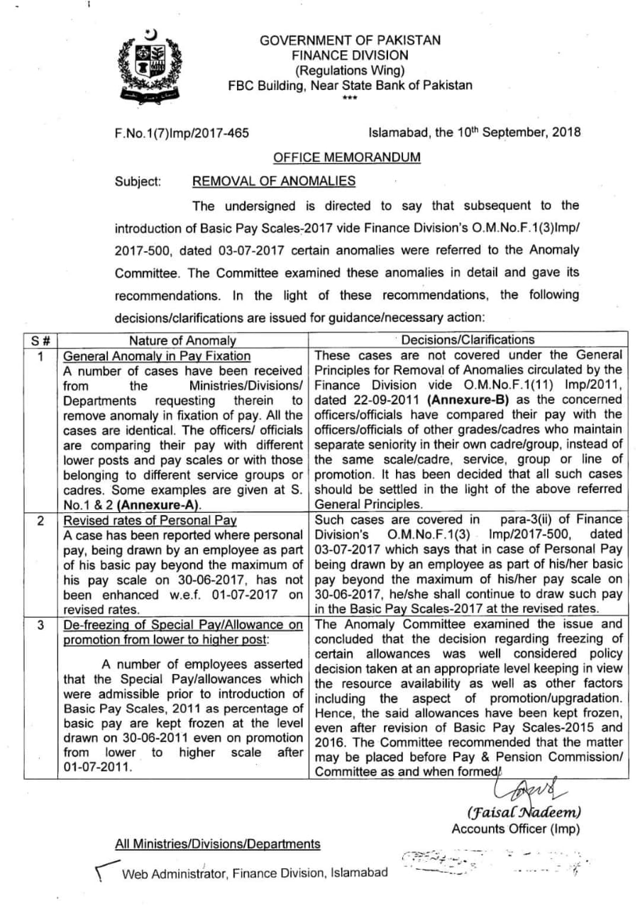 Notification of Removal Anomalies Basic Pay Scales 2017