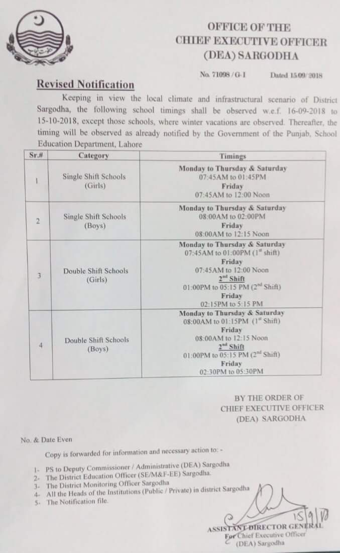 Revised Notification School Timings by CEO (DEA) Sargodha