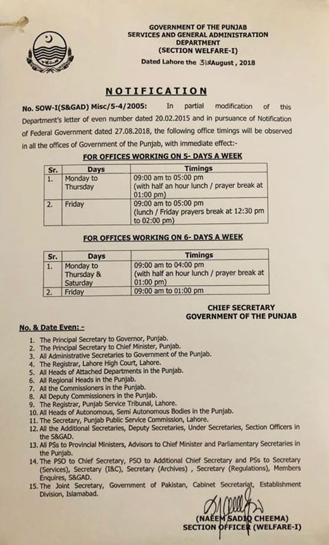 Revised Office Timings Punjab