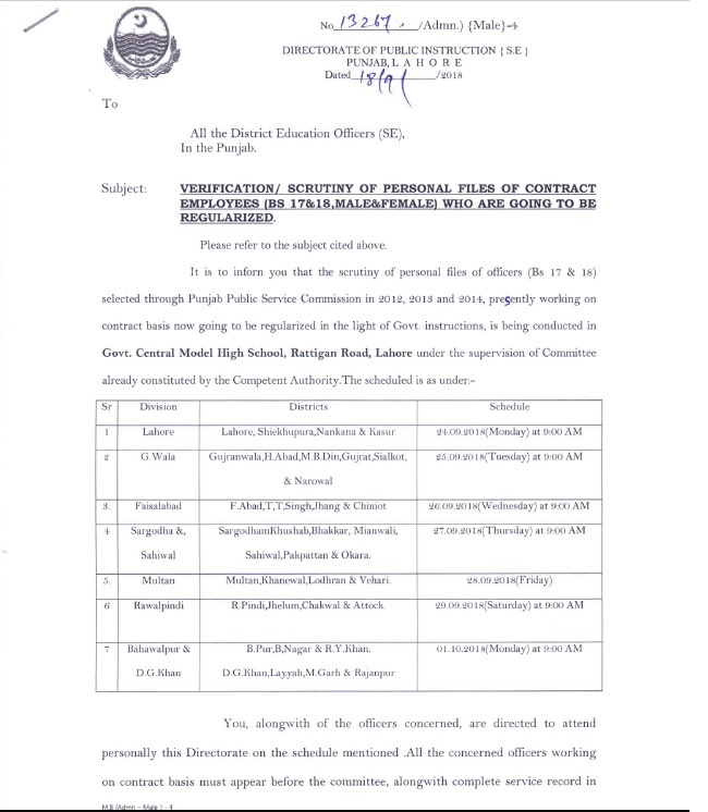 Verification /Scrutiny of Personal Files of Contract Employees (BPS-17 & BPS-18) Who are Going to be Regularized