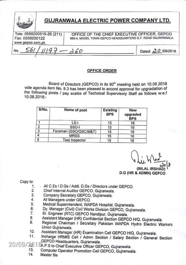Upgradation Posts of Technical Supervisory Staff GEPCO