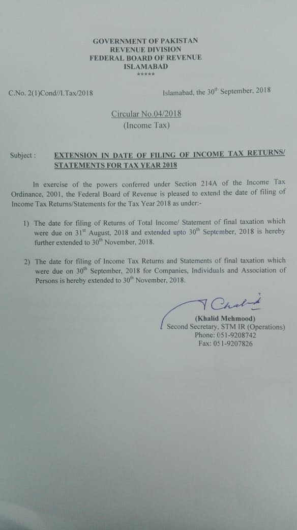 Notification Extension in Date of Filing of Income Tax Returns/Statements upto 30th Nov 2018