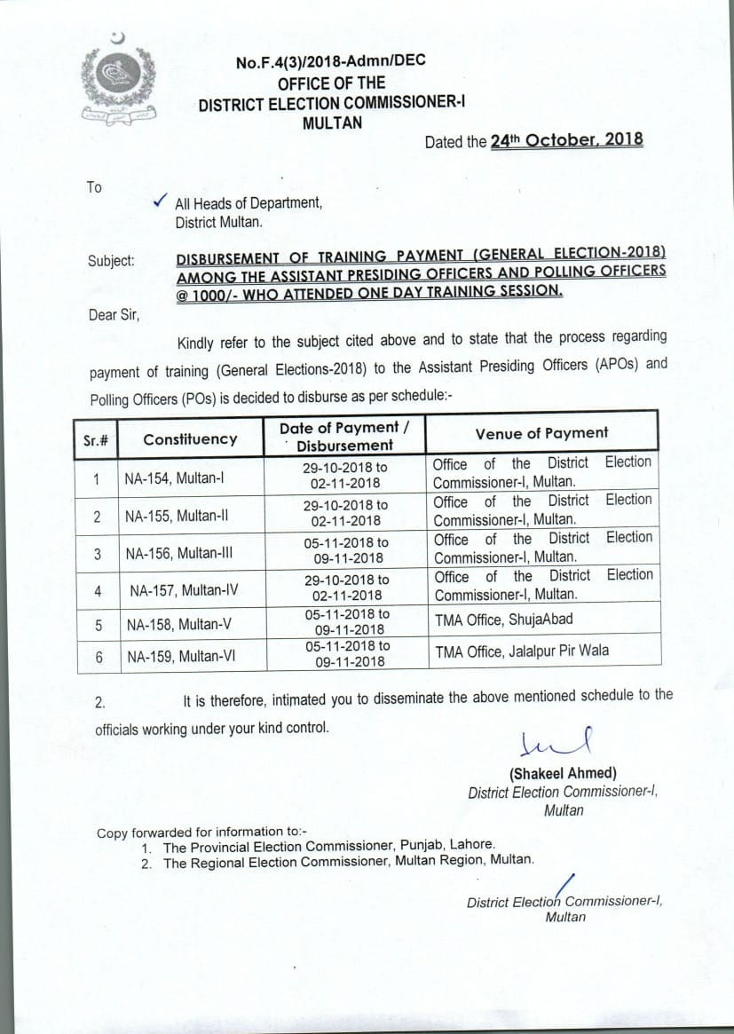 Notification of General Election 2018 Training Payment to APOs and POs