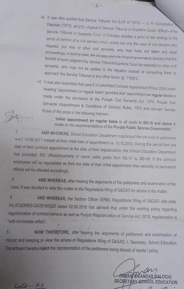 Regularization of Educators Initial Appointment