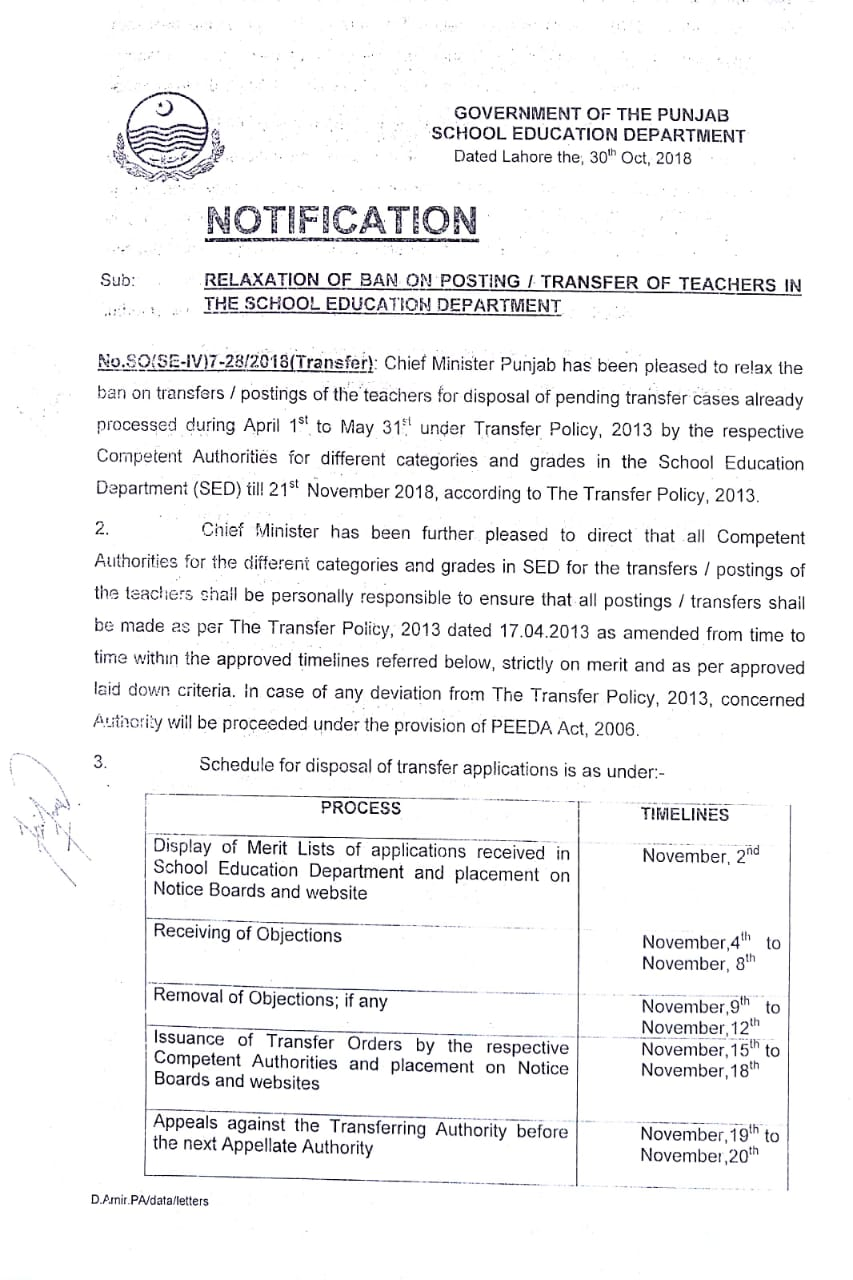 Relaxation Ban on Transfer Posting Teachers in the School Education Department Punjab