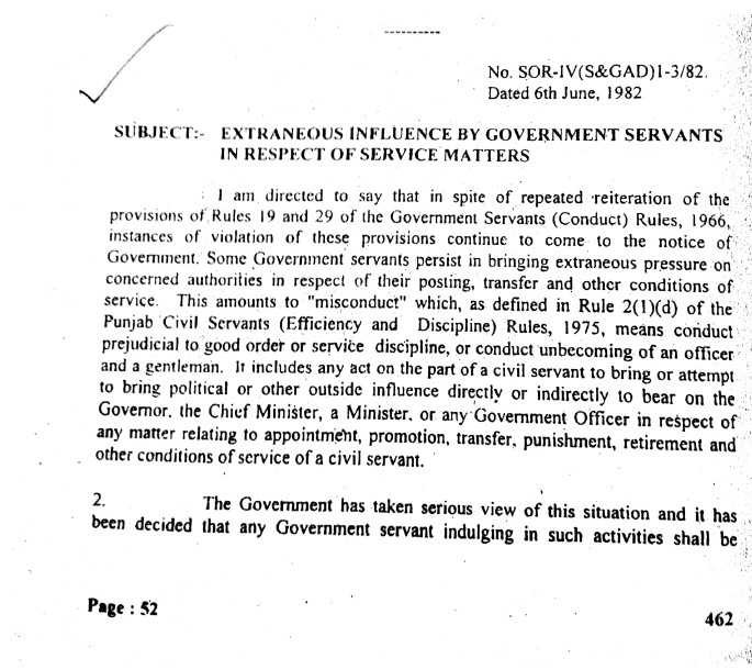 Extraneous Influence by Government Servants