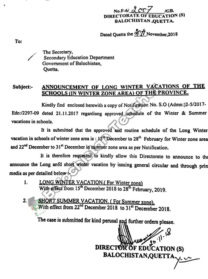 Notification of Announcement of Long Winter Vacations of Schools (In Winter Zone Area)