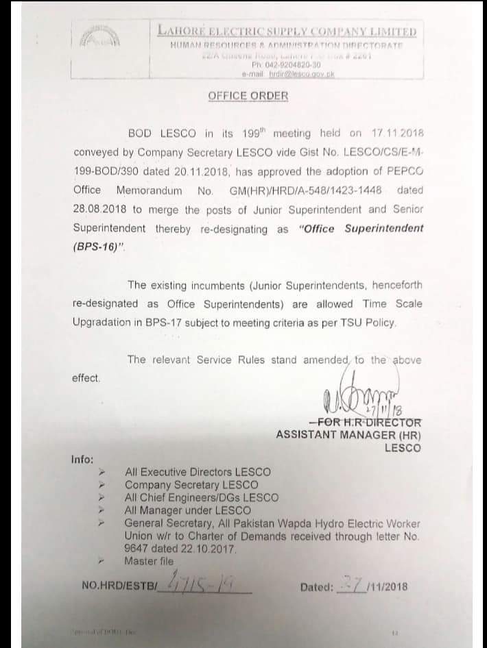 Merging the Posts of Junior Superintendent and Senior Superintendent thereby Re-designated as Office Superintendent