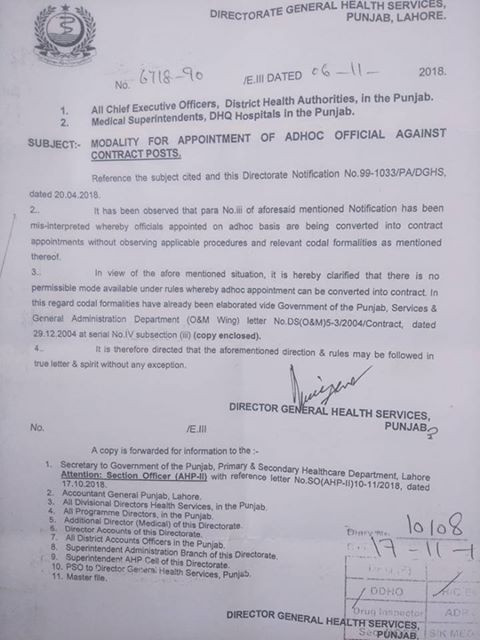 Notification of Modality for Appointment of Adhoc Official against Contract Posts