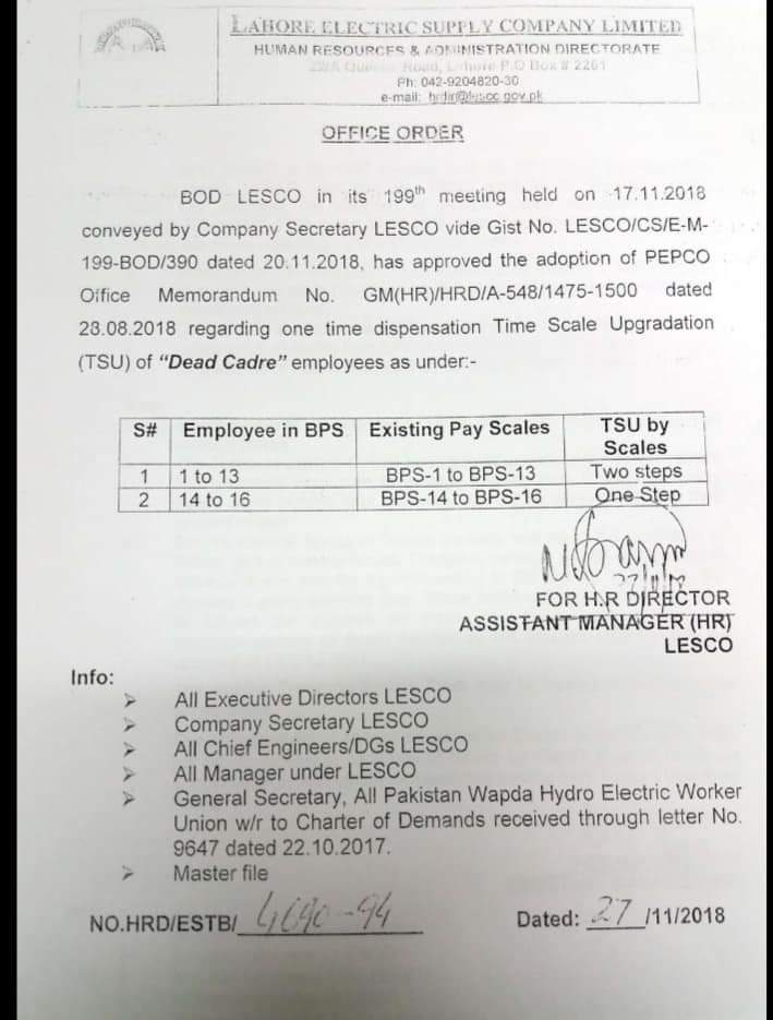 Notification of One Time Dispensation Time Scale Upgradation Dead Cadre Employees-LESCO
