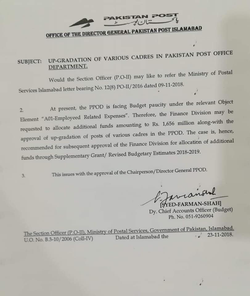 Upgradation of Various Cadres in Pakistan Post Office Department